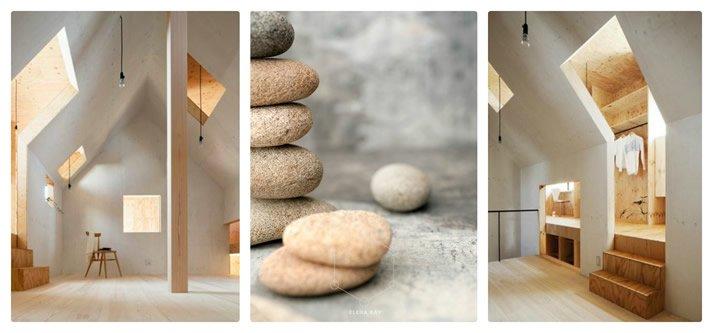 mansarda minimalista e pietre zen