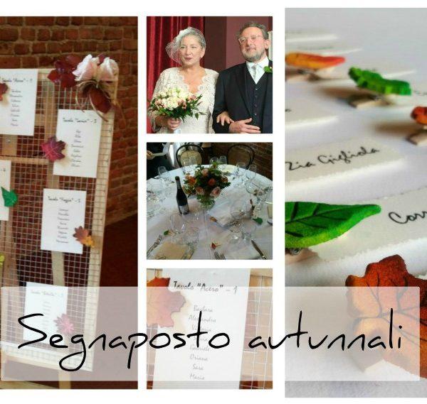 Segnaposto autunnali personalizzati per la tavola degli sposi