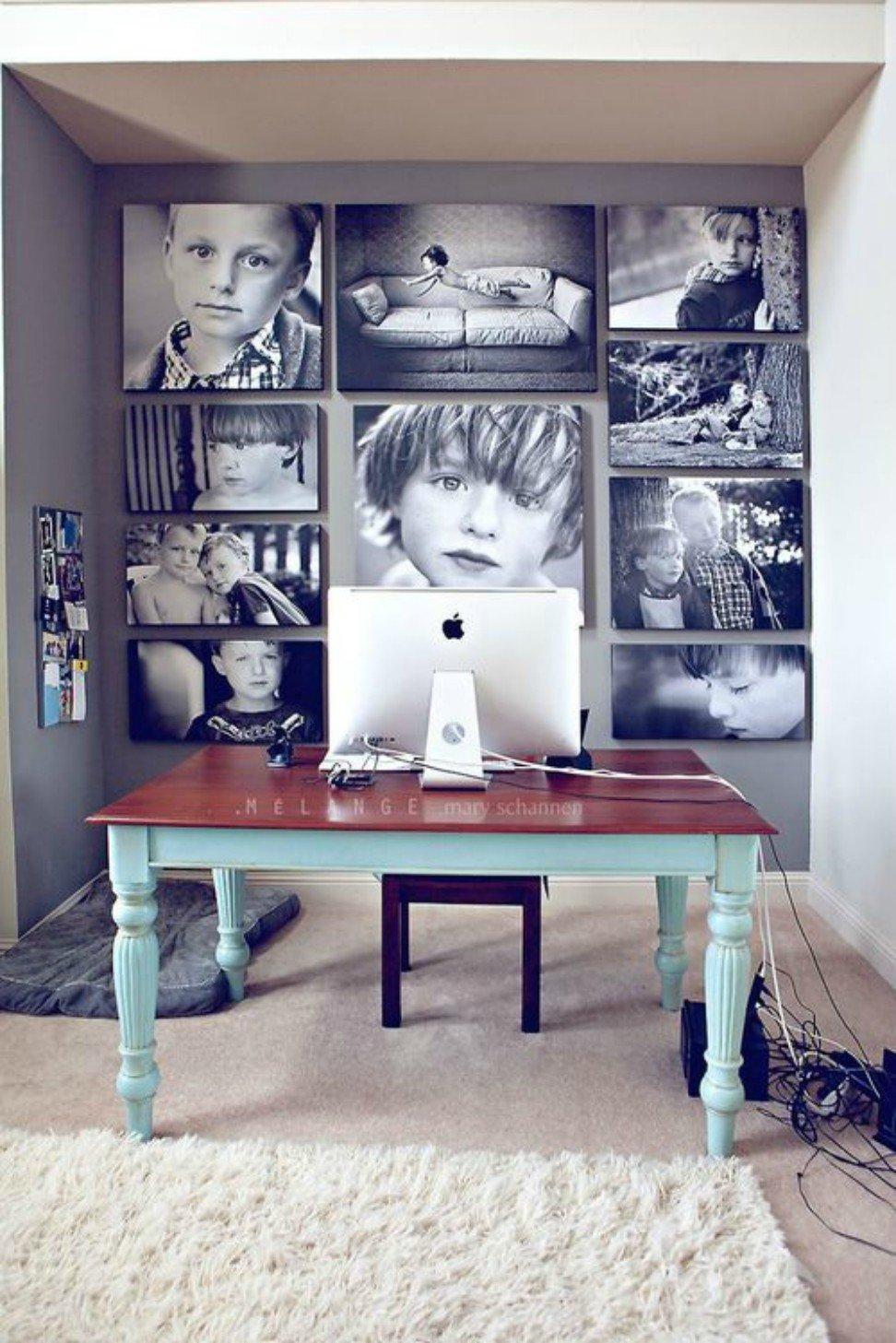 arredare parete vuota con foto