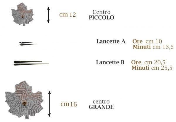 info grafica misure lancette e centro orologio con foglie