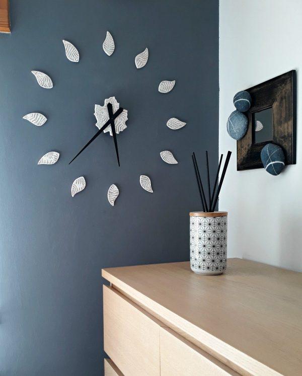 orologio da parete bianco adesivo con foglie